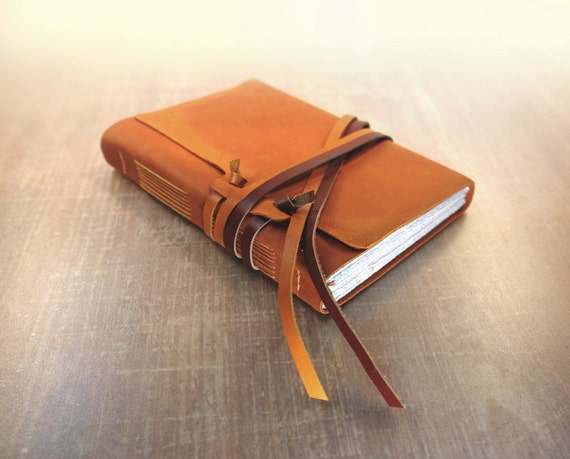Art Journal - Leather Journal - Medieval Orange Leather Cover Notebook / Diary / Sketchbook - The Story