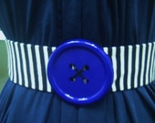Women Elastic Waist Belt, Black White Striped, Handmade, Wide,  Sale