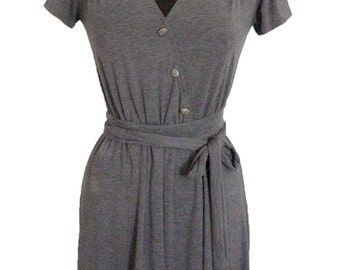 Day Grey Jersey Dress, Waisted  Faux Wrapping Dress, Short Sleeves, Long wrapping Belt 40 %  Sale