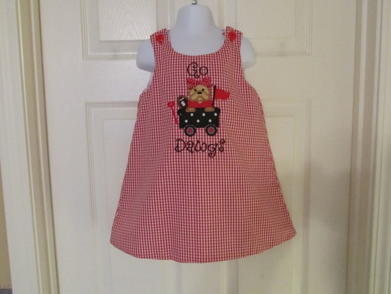 READY TO SHIP,Toddler Girls Size 3T A-Line Jumper with Bulldog in Wagon Applique
