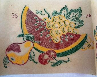 Original Vintage Fabric Transfers / Vogart Unused Fruit & Floral