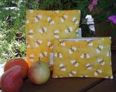 Reusable sandwich and/or snack bags - Sweet as honey
