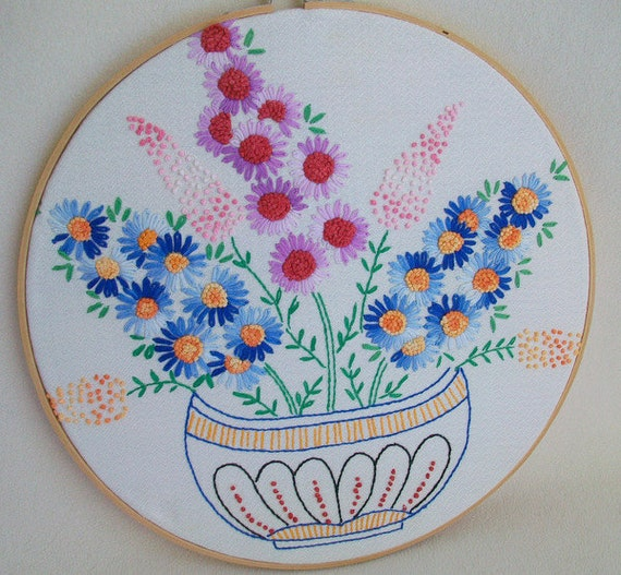 Bowl of Flowers Hoop wall art Vintage Embroidery Remake Mothers Day Gfit