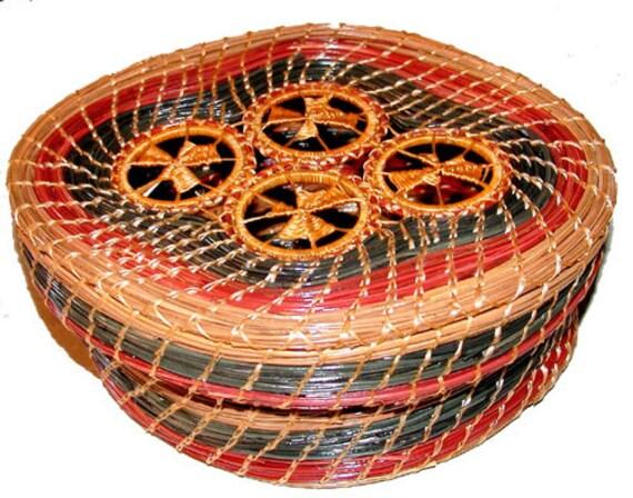 Four Golden Rings pine basket of green