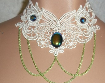 Collar Choker in Creay White Lime Chain AB Aurora Borealis Cab Venise Lace Victorian Insired Turn of the Century Modern Art