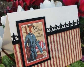 Vintage Inspired Handmade Gentlemen's Birthday, Father's day, New Job, Graduation, Grooms Card