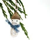3 Mini Christmas Ornaments - funny painted snowman peanuts