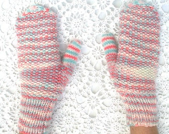 Mittens Pink Blue White Hand Knit Women Ladies Teens Seed Stitch
