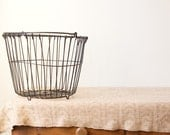 RESERVED for Lindy: Vintage Rustic Wire Egg Basket in Black, Staley Feeds
