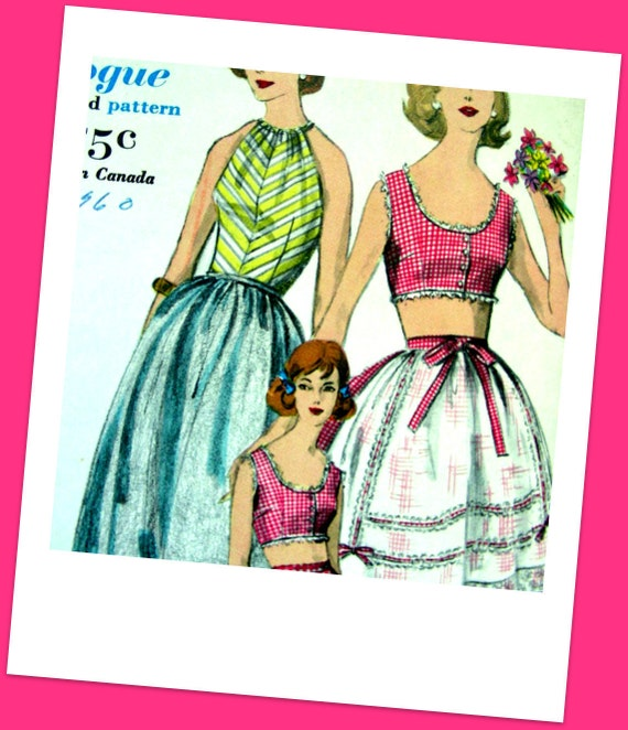 Vintage 50's Sewing Pattern Vogue 5022 - Crop Halter Top, Halter, Skirt , Shorts and Apron - FACTORY FOLDED  - size 12/32