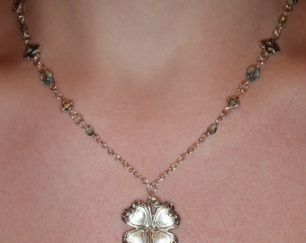 Christmas in Ireland, silver plated shamrock necklace
