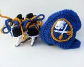 Buffalo Sabres helmet and ice skates, nhl skates, sabres