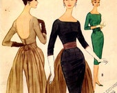 Vintage McCalls 5588 Pauline Trigere Sheath Dress Sewing Pattern Early 1960s Fishtail Evening Gown with Back Drape Bust 32 UNCUT