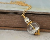 dainty 14k gold filled long necklace SILVER STREAM glass bubble with white feathers