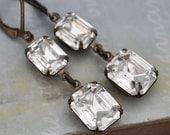 glass cyrstal bridal earrings - VINTAGE SPARKLE - antiqued brass earrings with vintage Swarovski crystal jewels