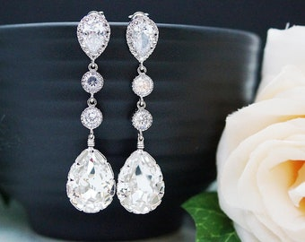Wedding Bridal Jewelry Bridal Earrings Bridesmaid Dangle Earrings CZ connectors and Clear White Swarovski Crystal Tear drop Earrings