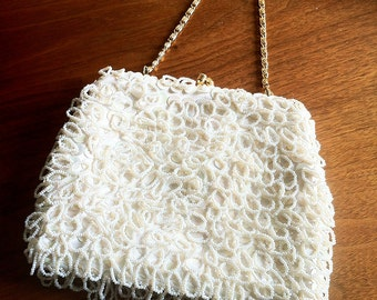 1960s Beaded White Formal Purse