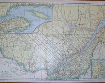 Antique Map - Quebec Province, Canada - 1928 Encyclopedia Illustration - Nice For Framing