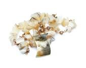 "Seashell, Swarovski Crystal and Gold Necklace  ""Sincerity"""