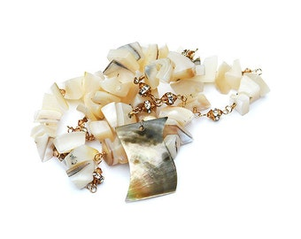 "Seashell, Swarovski Crystal and Gold Necklace  ""Sincerity"""