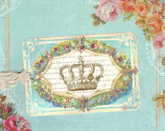 French Flea Market Style Tags Marie's Crown Floral Frame