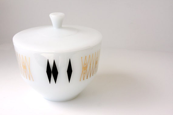 Mid Century Modern Federal Bowl with Lid // Black and Gold Diamond // Milk Glass