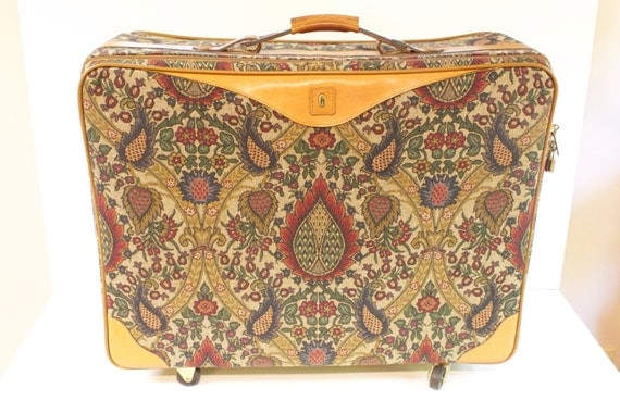 Vintage Hartmann Flame Tapesty and leather Luggage 26 inches