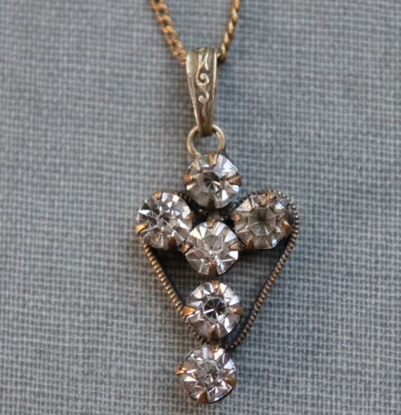Edwardian French Paste Cross and Heart Necklace