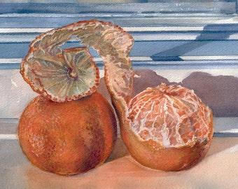 Two Oranges Watercolor Print- Tangerines On Blue Windowsill- 5x7- Realistic Art-  Still Life