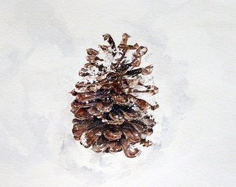 Pinecone Print- 5x7- Realistic Watercolor- Brown Cone, White Snow- Rustic, Colorado, Winter Snow- Ponderosa- Vertical