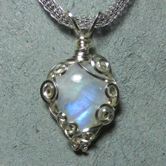 Moonstone inverted drop cabochon pendant, natural stone from India, hand wrapped silver filigree setting