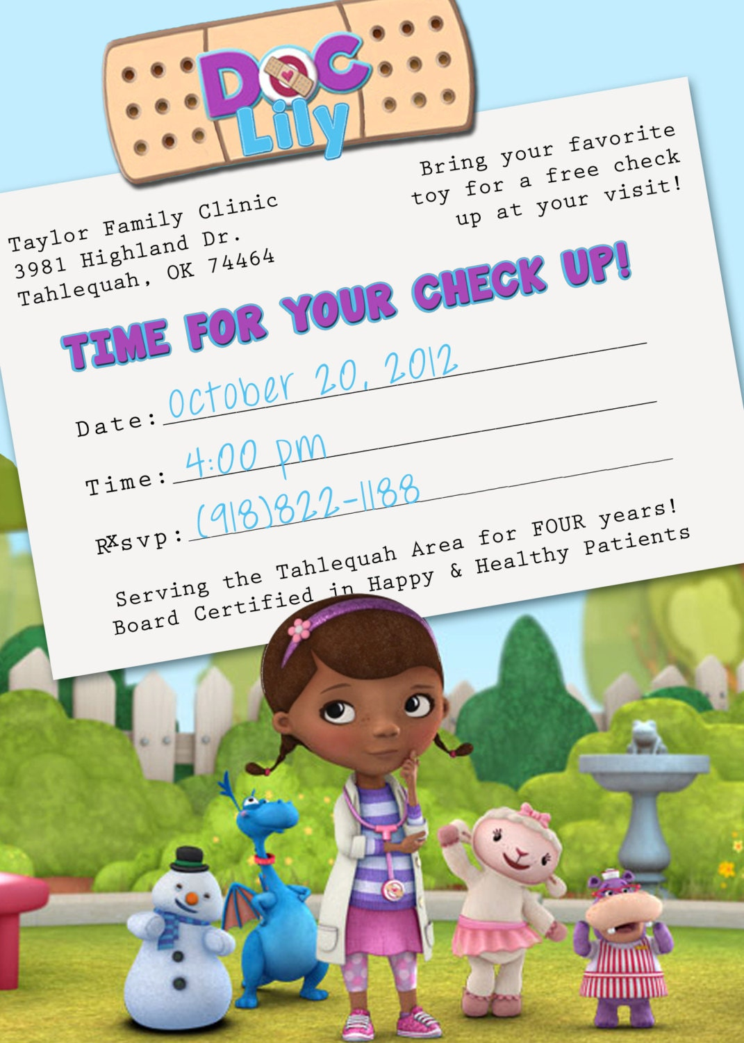Doc Mcstuffins Invitation Template Free with best invitation ideas