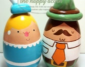 Adorable Wedding Cake Topper Custom Handmade Couple - Handmade by The Happy Acorn