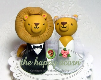 Lion Wedding Cake Topper Lions - Handmade by The Happy Acorn