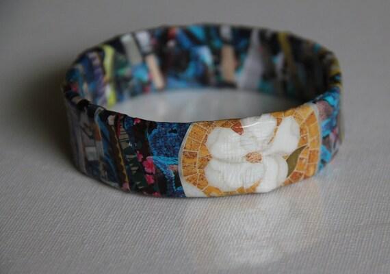 Blue With Flowers Upcycled Magazine Bangle Bracelet