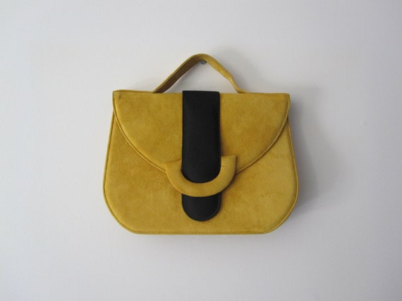 Khalifa - Vintage Black and Yellow Suede Handbag