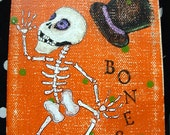 Bag o' Bones Skelly Mixed Media Painting