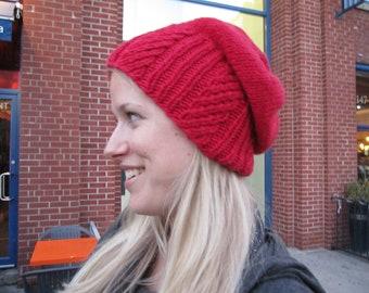 Knitting Pattern Hat:  Red Rocket Slouchy Hat
