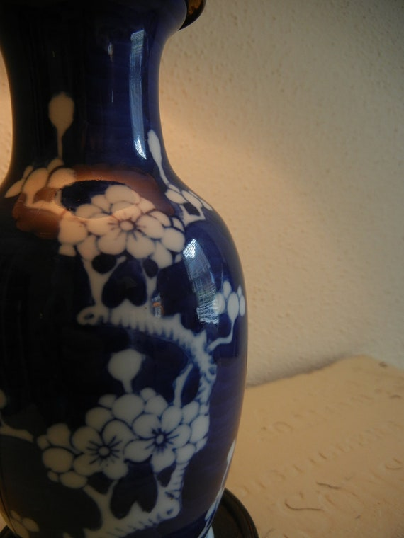 Vintage Ginger Jar Lamp Cobalt Blue Ceramic Asian Table Desk Home Decor Cottage Decor Boudoir Asia Lighting  Lotus Flowers