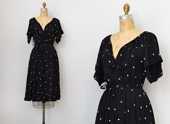 vintage 1970s black Nipon boutique dress