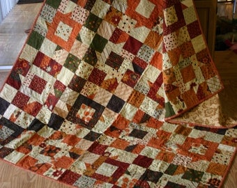 """Gobble Gobble Handmade 64""""x 80""""  Lap or Bed Throw Quilt in Rich Fall Colors"""