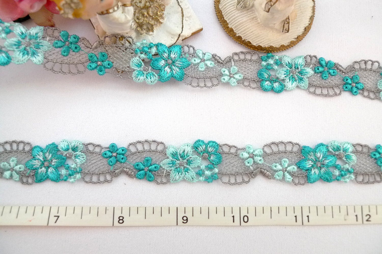 Embroidered trim venise blue floral yards by