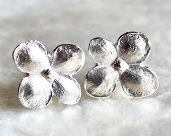 Hydrangea Blossom Post Earrings of Handcrafted Fine and Sterling Silver - Recycled Silver - Eco Friendly