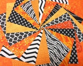 Quilt Fabric Charm Squares -  Orange and Black - SEW FUN QUILTS Time Saver Quilt Kit