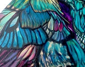 Butterfly Wings Pattern - Acrylic Painting of Butterflies, 7x14 Skinny Long Canvas Wall Art, Gold Leaf and Jewel Tone Original Art
