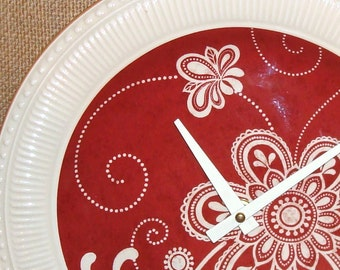 Wall Clock - Deep Rusty Red and Cream Floral Whimsy Ceramic Plate Wall Clock No. 982 (11 inches)