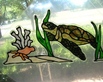 Sea turtle,seaweed,coral and fish stained glass window cling