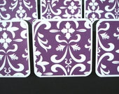 Blank Mini Cards - 2x2 Tags - Gift Note Enclosure - Purple Damask (Set of 12)