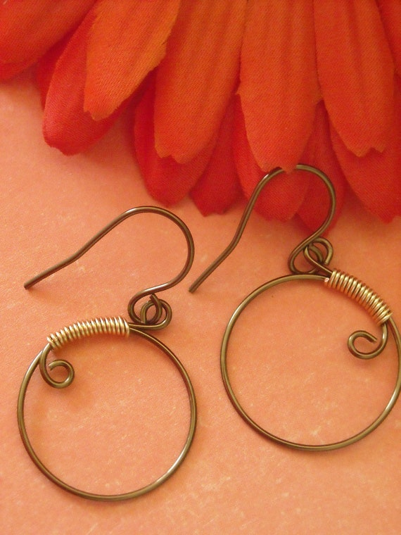 Dyed Copper Hoops with Bronze Wire Wrapping