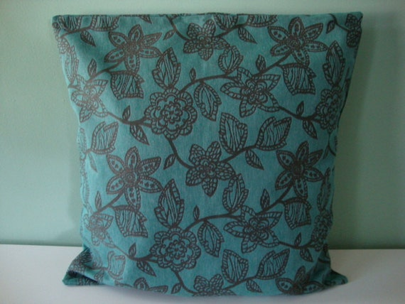 18 Inch Pillow Sham Brown Floral Pattern Turquoise Blue